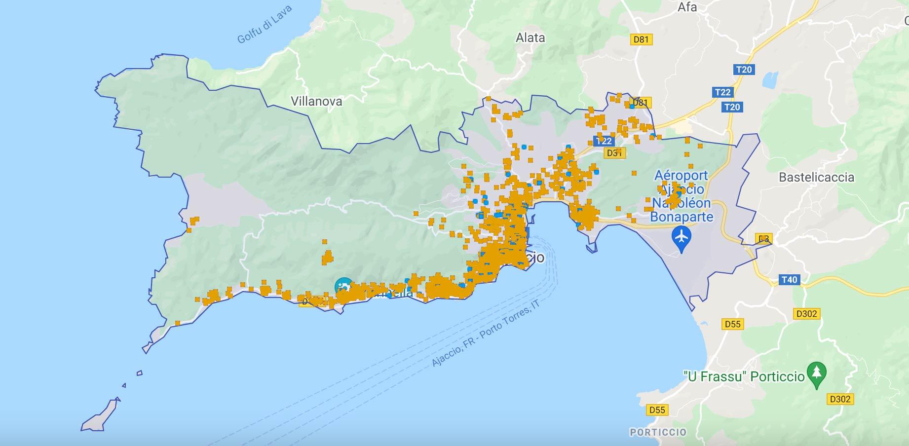 Localisation locations Airbnb Ajaccio